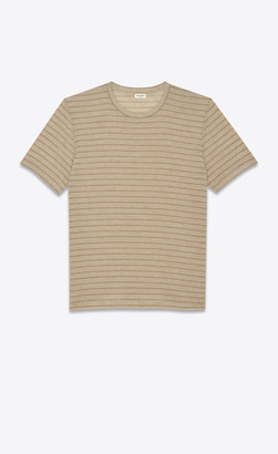Saint Laurent T-shirt And Jersey T-shirt With Lurex Stripes Beige L