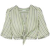 Sonia Rykiel Tie-front Striped Duchesse-satin Top - Green