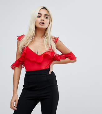 Naanaa Petite NaaNaa Petite Frill Cold Shoulder Bodysuit-Red