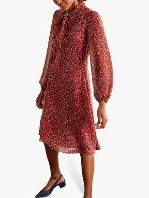 Boden Imogen Floral Tie Neck Dress