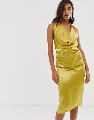 ASOS DESIGN midi dress with drape cowl neck in high shine satin