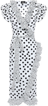 De La Vali Cadaques Ruffle-trimmed Cotton Wrap Dress