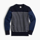 J.Crew Boys' cotton-cashmere crewneck sweater in stripe combo