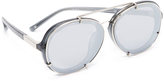 3.1 Phillip Lim Round Aviator Mirrored Sunglasses