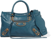 Balenciaga Metallic Edge City Textured-leather Shoulder Bag - Blue