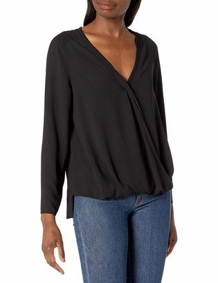 Cooper & Ella Women's Long Sleeve Crepe Flattering Faux Wrap V-Neck Alyssa Blouse