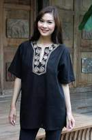 Handcrafted Cotton Blouse, 'Black Jasmine'