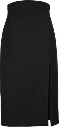 Gucci High Waist Silk & Wool Crepe Cady Pencil Skirt