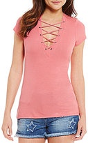 Jessica Simpson Ednie Ribbed Lace-Up Front Top