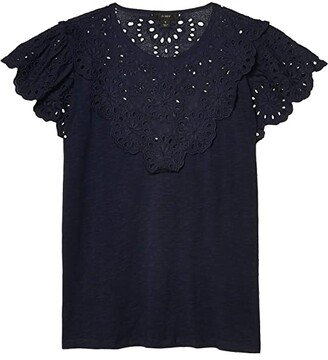 J.Crew Lace Scalloped Yoke T-Shirt (Navy) Women's Clothing