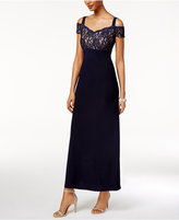 R & M Richards R&M Richards Lace Cold-Shoulder Gown