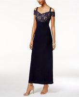 R & M Richards R&M Richards Lace Cold-Shoulder Gown