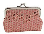 Misaky Womens Sequin Wallet Purse Clutch Bag Bag Vintage Wallet for Evening Party (12cmX9cm, Pink)