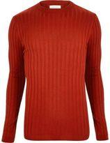 River Island Mens Dark orange muscle fit long sleeve T-shirt
