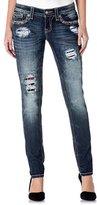 Miss Me Denim Jeans Womens Patched Plaid Skinny Dark JP8765S