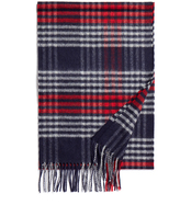 Johnstons of Elgin Red and Grey Sports Check Cashmere Scarf