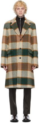 Dries Van Noten Beige Wool Check Long Coat