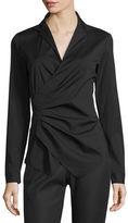 Lafayette 148 New York Odetta Long-Sleeve Surplice-Neck Blouse, Plus Size