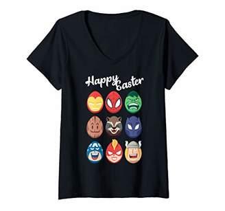 Marvel Womens Easter Avengers Easter Eggs V-Neck T-Shirt