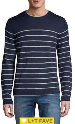 Black & Brown Black Brown Breton Stripe Italian Merino Wool Crewneck Sweater