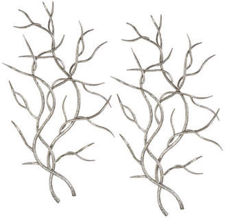 """Uttermost Branches Wall Art, Set of 2, Silver, 20.5""""x36.63"""""""