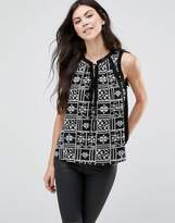 Greylin Lynna Tie Front Printed Blouse