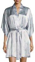 Natori Wisteria Floral-Print Silk Short Wrap Robe, Blue Pattern