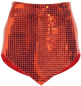 ATTICO Sequined Stretch Satin Mini Skirt