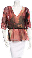 Alice + Olivia Silk V-Neck Blouse