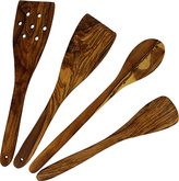 French Home Essential Olive Wood Four-Piece Kitchen Tool Set