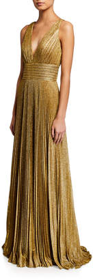 Jovani Metallic Accordion-Pleated V-Neck Sleeveless Gown