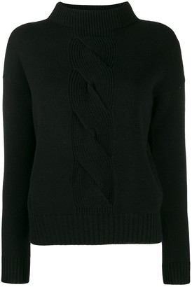 D-Exterior Cable Knit Detail Jumper