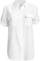 Equipment Slim Signature White Double Flap Pocket Short Sleeve Blouse