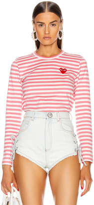 Comme des Garcons Striped Tee in Pink   FWRD