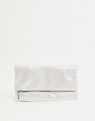 Lipsy foldover clutch in silver