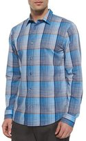 Vince Melrose Plaid Long-Sleeve Shirt, Blue