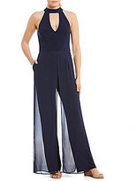 Xscape Evenings Mock Neck Key Hole Front Jumpsuit