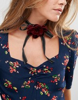 Asos Ribbon Rose Choker Necklace