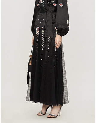 Temperley London Firebird floral-embroidered crepe midi skirt
