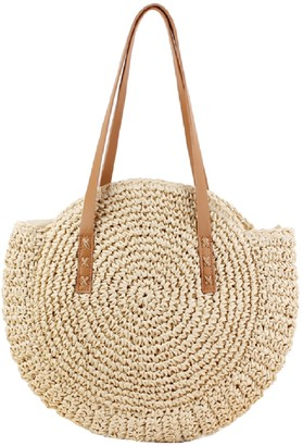 Goodnight Macaroon 'Jessica' Rattan Round Oversized Beach Tote Bag (2 Colors)