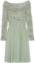 Jenny Packham Embellished Tulle And Silk-georgette Dress - Mint