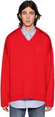 Balenciaga Pinched V-Neck Cotton Blend Sweater