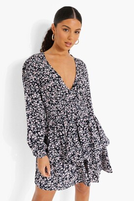 boohoo Ditsy Floral Tiered Skirt Skater Dress
