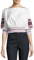 Tibi Cora Embroidered Crop Top, White Pattern