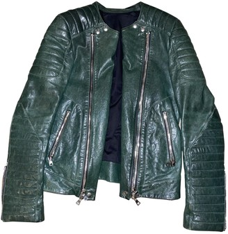 Balmain Green Leather Jackets