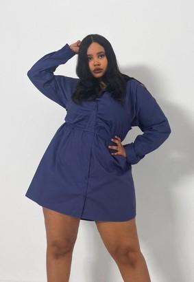 Missguided Plus Size Blue Bralet Overlay Poplin Shirt Dress