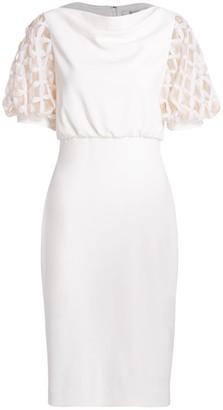 Badgley Mischka Embellished Sheer Puff-Sleeve Sheath Dress