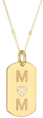 Zoë Chicco 14K Yellow Gold & Diamond Mom Small Dog Tag Pendant Necklace