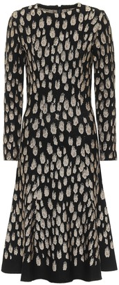 Oscar de la Renta Spotted jacquard midi dress