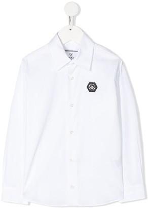 Philipp Plein Logo Plaque Slim-Fit Shirt